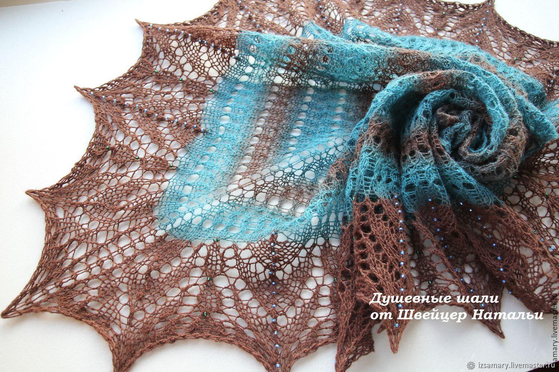 Ажурная шаль с бисером из шерсти морская волна и коричневый Шторм, Шали, Самара, Фото №1