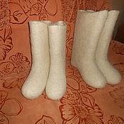 Обувь ручной работы. Ярмарка Мастеров - ручная работа белые женские валенки. Handmade.