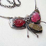 """Колье ручной работы. Ярмарка Мастеров - ручная работа Колье """"Дикая орхидея"""" (серебро 925, рубины, турмалин). Handmade."""