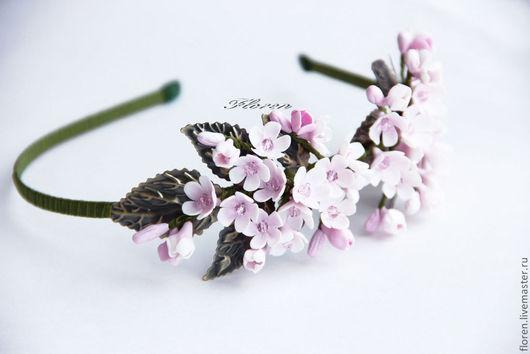 """Диадемы, обручи ручной работы. Ярмарка Мастеров - ручная работа. Купить Ободок """"Яблоневый цвет"""". Handmade. Бледно-розовый"""
