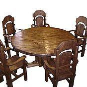 Для дома и интерьера ручной работы. Ярмарка Мастеров - ручная работа стол и 6 стульев из натурального состаренного массива сосны. Handmade.