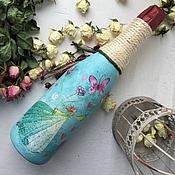 Сувениры и подарки ручной работы. Ярмарка Мастеров - ручная работа Шампанское Фея цветов и бабочек 0.7л. Handmade.