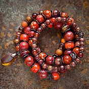 """Украшения ручной работы. Ярмарка Мастеров - ручная работа Set """"Лисичка"""". Этнические браслеты с кораллом, янтарем, яшмой. Handmade."""