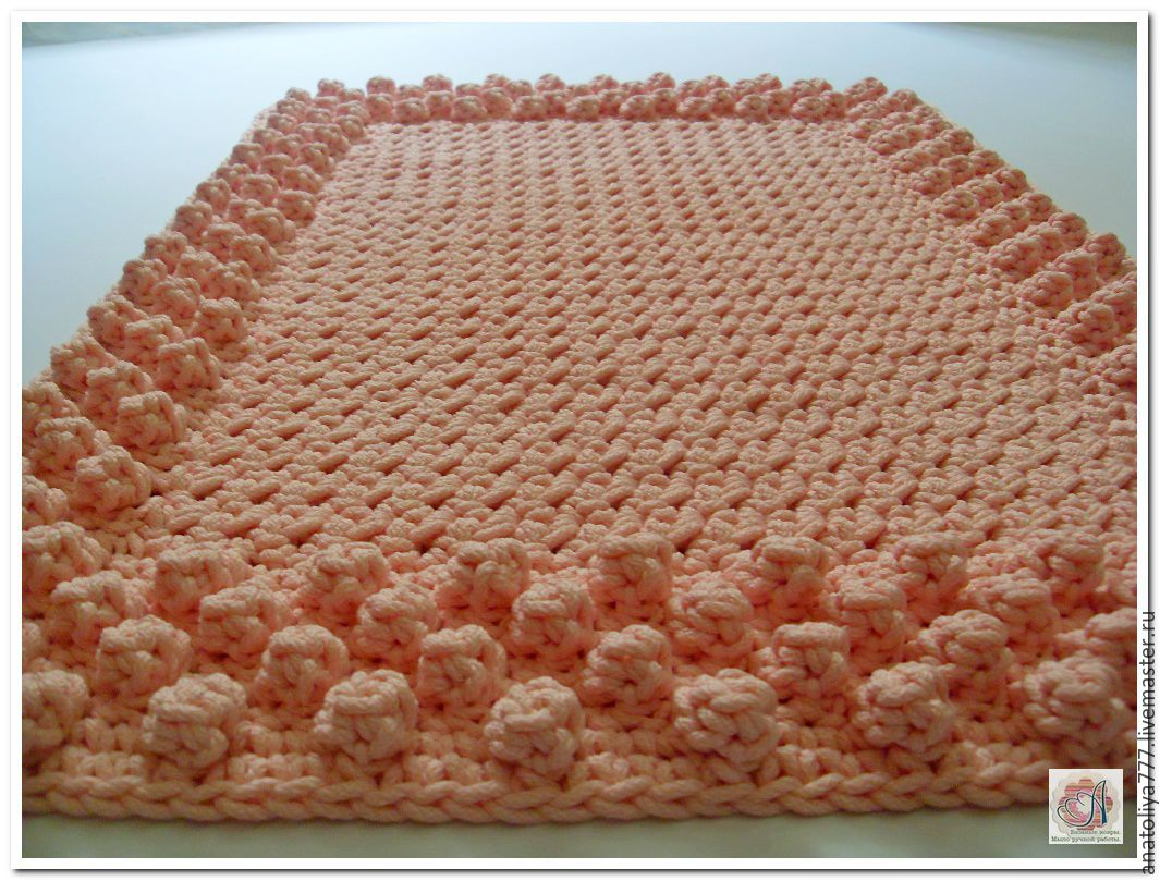 Mat Rug, Crocheted Of Polyester Cord Pink Bumps.