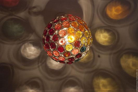 """Освещение ручной работы. Ярмарка Мастеров - ручная работа. Купить Лампа """"Разноцветная"""". Handmade. Лампа, краски по стеклу, пластик"""