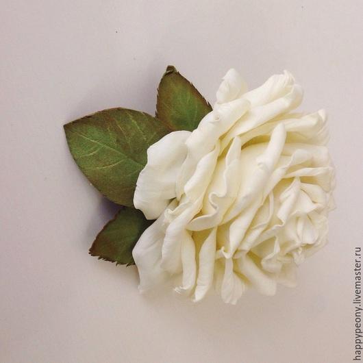 Броши ручной работы. Ярмарка Мастеров - ручная работа. Купить Заколка брошь Белая роза.. Handmade. Белый, роза заколка