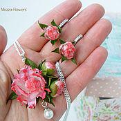 Украшения handmade. Livemaster - original item Set with peonies and pearl.. Handmade.