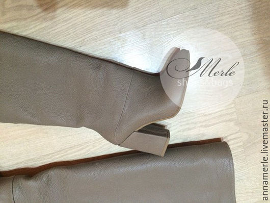 Обувь ручной работы. Ярмарка Мастеров - ручная работа. Купить Сапожки кожаные Comfort беж, 10 см. Handmade. Бежевый
