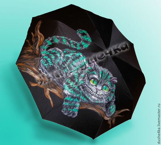 """Зонты ручной работы. Ярмарка Мастеров - ручная работа. Купить Зонт с ручной росписью """"Чеширский кот"""". Handmade. Черный, зонты"""