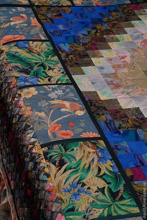 Текстиль, ковры ручной работы. Ярмарка Мастеров - ручная работа. Купить Покрывало  Синяя птица. Handmade. Синий, птицы, сатин