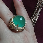 Украшения handmade. Livemaster - original item Ring Queen Isabella. Chrysoprase, diamonds, gold 585. Handmade.