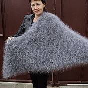 Аксессуары handmade. Livemaster - original item Downy shawl Silver. Handmade.