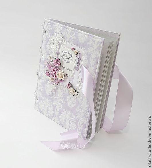 Свадебные фотоальбомы ручной работы. Ярмарка Мастеров - ручная работа. Купить Свадебный альбом. Handmade. Бледно-сиреневый, подарок