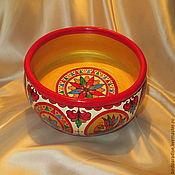 Посуда ручной работы. Ярмарка Мастеров - ручная работа Декоративная расписная деревянная миска.Посуда для кухни. Handmade.