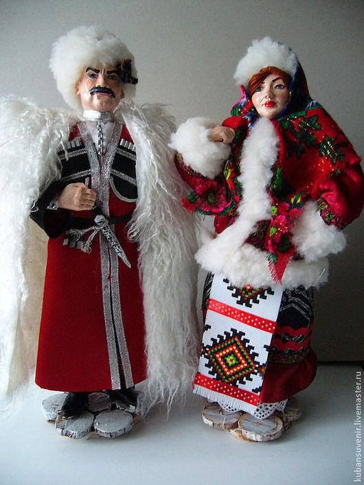 """Коллекционные куклы ручной работы. Ярмарка Мастеров - ручная работа. Купить """"Кубанский казак в зимнем"""", """"Кубанская казачка  в зимнем""""  большие. Handmade."""