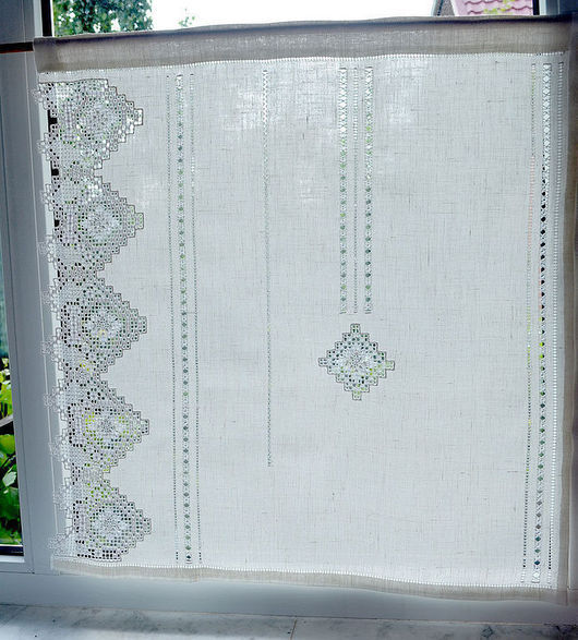 белый занавески французские занавески шторы для кухни шторы на заказ занавески с вышивкой льняные занавески занавески с мережкой мережка ручная вышивка строчевая вышивка украшение окна русский стиль
