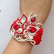Украшения handmade. Livemaster - original item Bracelet embroidered red white Shibori silk,pearls,soutache. Handmade.