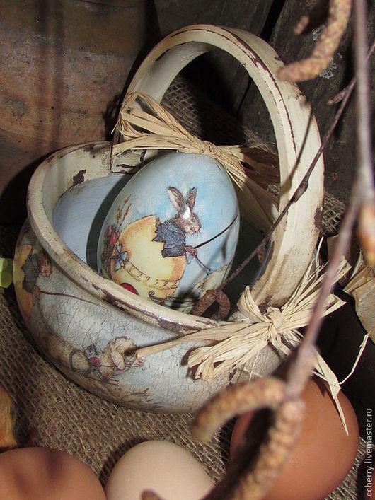 """Подарки на Пасху ручной работы. Ярмарка Мастеров - ручная работа. Купить Лукошко и яйцо """"Easter efforts"""". Handmade. Бежевый, зайка"""