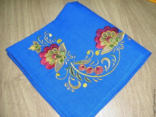 """Текстиль, ковры ручной работы. Ярмарка Мастеров - ручная работа. Купить салфетка""""золотая хохлома""""-2. Handmade. Синий, салфетка"""