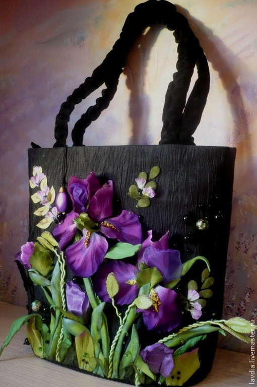 """Женские сумки ручной работы. Ярмарка Мастеров - ручная работа. Купить сумка  """"Ирисы 2"""". Handmade. Черный, органза"""