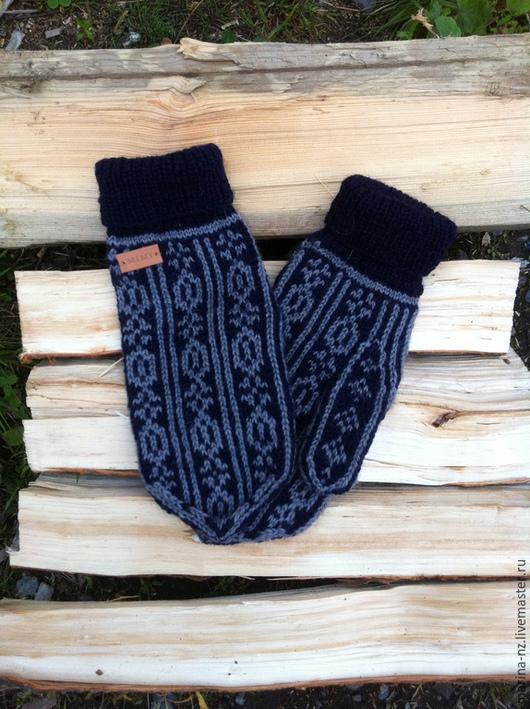 Варежки, митенки, перчатки ручной работы. Ярмарка Мастеров - ручная работа. Купить Варежки мужские. Handmade. Тёмно-синий