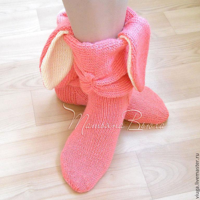 Розовый заяц. Носки вязаные, шерстяные, домашняя обувь ...