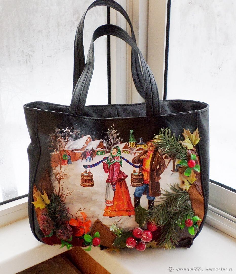 Bag leather women with applique and hand painted for love, Classic Bag, Noginsk,  Фото №1