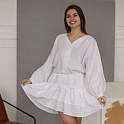 Одежда handmade. Livemaster - original item Vasilisa white linen dress with bat-style sleeves. Handmade.