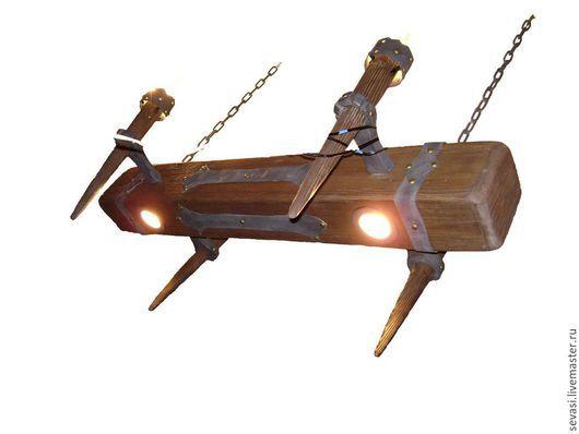 """Освещение ручной работы. Ярмарка Мастеров - ручная работа. Купить люстра """"Старая балка"""" с факелами маленькая. Handmade. Коричневый"""