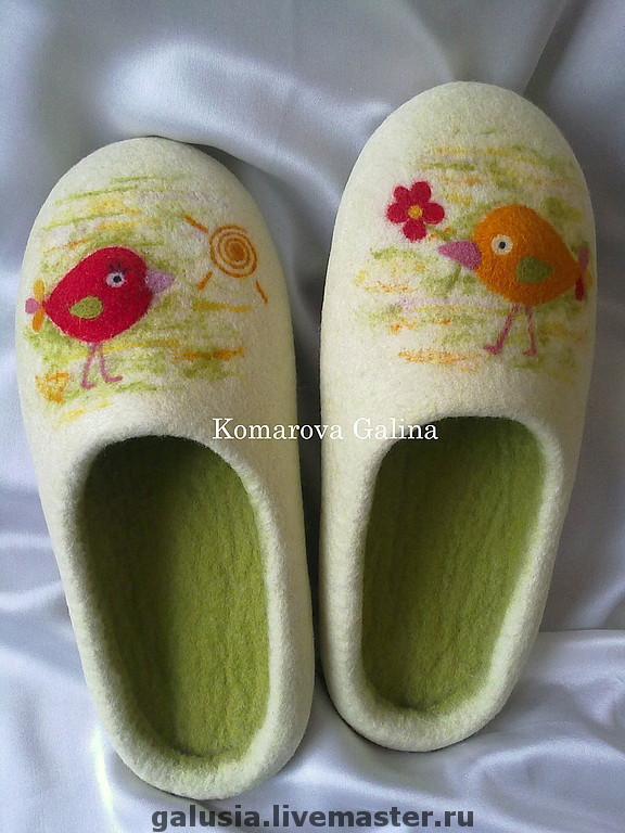 women`s felted Slippers `birds` felted Slippers 100% wool