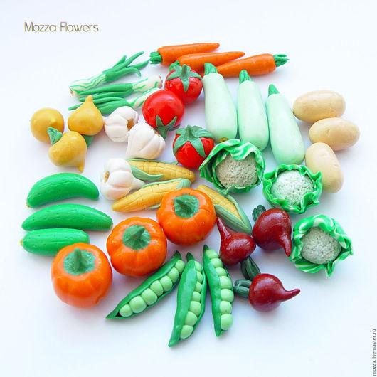 Еда ручной работы. Ярмарка Мастеров - ручная работа. Купить Овощи из полимерной глины для игры с ребенком.. Handmade. Комбинированный, горох