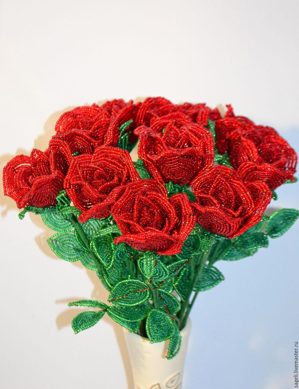 очень красивый букет роз из бисера фото настоящего