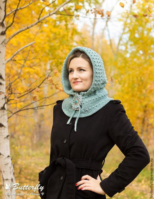 """Капюшоны ручной работы. Ярмарка Мастеров - ручная работа. Купить Капр """"Мята"""", женская вязаная шапка, капюшон, снуд, брошь. Handmade."""