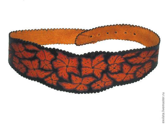 """Пояса, ремни ручной работы. Ярмарка Мастеров - ручная работа. Купить Пояс кожаный женский """"Цветы на черном"""". Handmade. Пояс"""