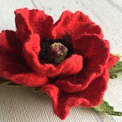 Украшения handmade. Livemaster - original item Brooch felted wool poppy Red. Handmade.