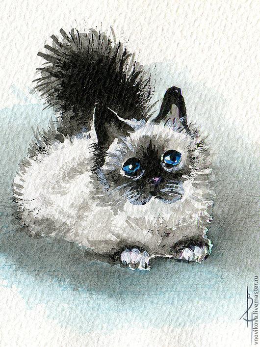 """Открытки на все случаи жизни ручной работы. Ярмарка Мастеров - ручная работа. Купить открытка """"Котик-мини"""". Handmade. Бирюзовый"""