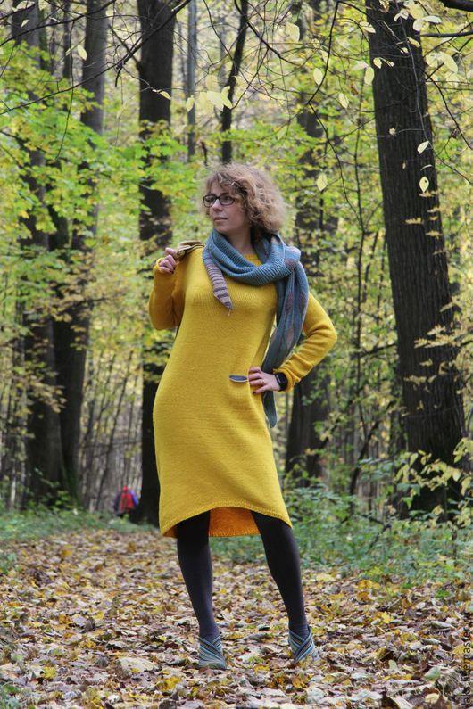 """Платья ручной работы. Ярмарка Мастеров - ручная работа. Купить Вязаное платье """"Осень"""". Handmade. Желтый, платье, бохо"""