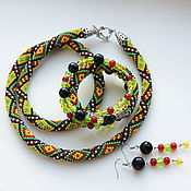 Украшения handmade. Livemaster - original item Lariat beaded bracelet earring