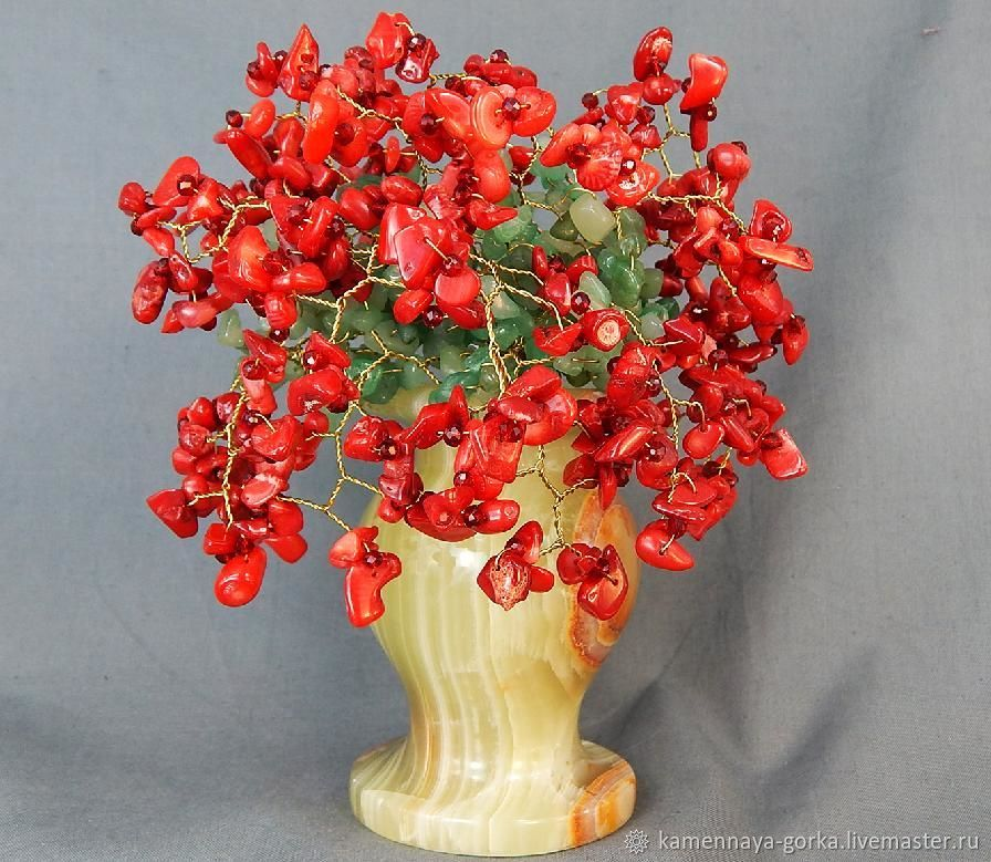 Букет коралл красный в вазе из яблочного оникса большой, Сладкие букеты, Москва,  Фото №1