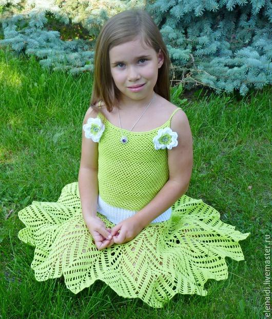 Одежда для девочек, ручной работы. Ярмарка Мастеров - ручная работа. Купить Платье сарафан Ажур в солнце.. Handmade. Салатовый, хлопок