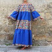 Одежда ручной работы. Ярмарка Мастеров - ручная работа Синее пейсли длинное летнее макси бохо платье из хлопка, ручная работа. Handmade.
