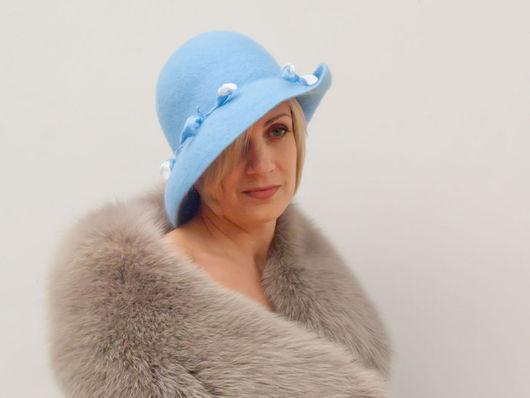 """Шляпы ручной работы. Ярмарка Мастеров - ручная работа. Купить Шляпка """"Кусочек летнего неба"""". Handmade. Голубой, дамская шляпка"""