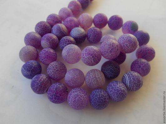 """Для украшений ручной работы. Ярмарка Мастеров - ручная работа. Купить Бусины """"Африканский"""" агат (кракле) фиолетовые. Handmade."""