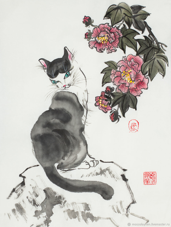 Кошечка и гибискус, Картины, Санкт-Петербург,  Фото №1