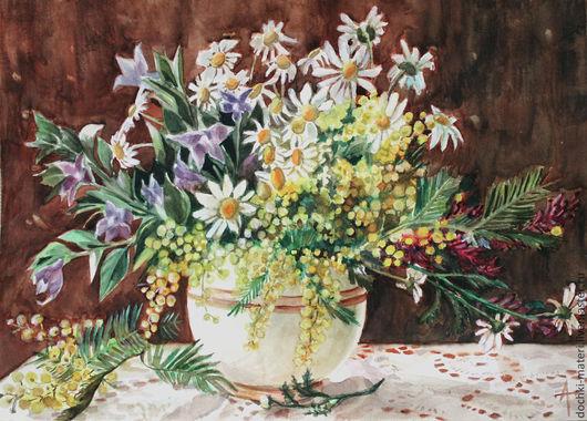 """Картины цветов ручной работы. Ярмарка Мастеров - ручная работа. Купить акварельный натюрморт """"Весенний букет"""". Handmade. Разноцветный, мимоза"""