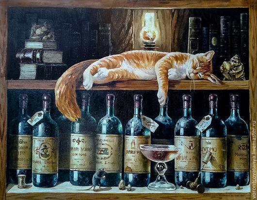 """Натюрморт ручной работы. Ярмарка Мастеров - ручная работа. Купить """"Наш кот."""". Handmade. Кот, картина маслом"""