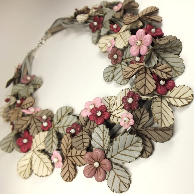 Dawn Strawberry. necklace made of genuine leather, Necklace, St. Petersburg,  Фото №1