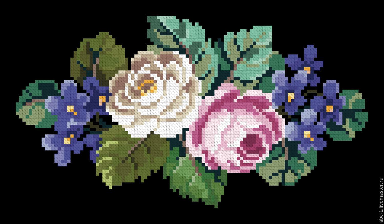 Схема вышивки крестом цветы на черном фоне.