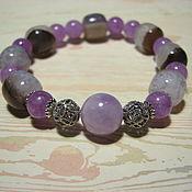 Украшения handmade. Livemaster - original item Bracelet with agate and amethyst