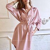 """Одежда ручной работы. Ярмарка Мастеров - ручная работа Платье рубашка на каждый день """"Птичка на проводе"""" пыльная роза. Handmade."""